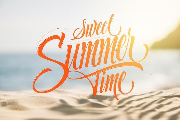 夏のレタリングの背景概念
