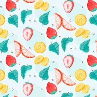 青色の背景にさまざまな果物パターン