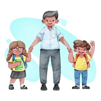 水彩画の子供たちが両親と一緒に学校に戻る
