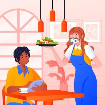 生地のマスクを着ている女性が料理を提供