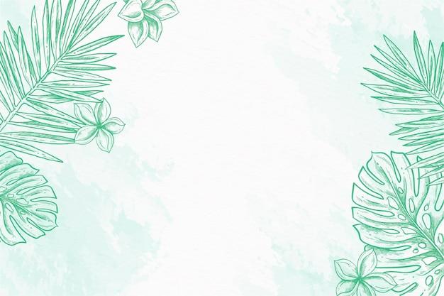 様々な葉パウダーパステル手描きの背景