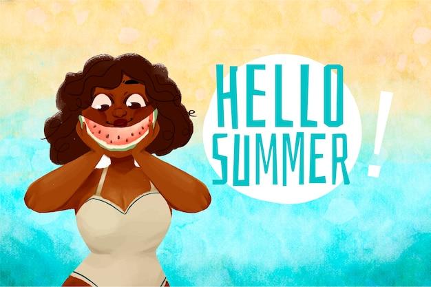 水彩夏の背景