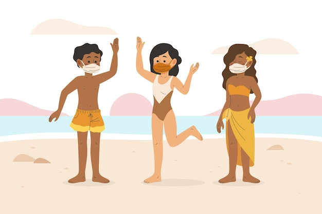 Люди на пляже в масках