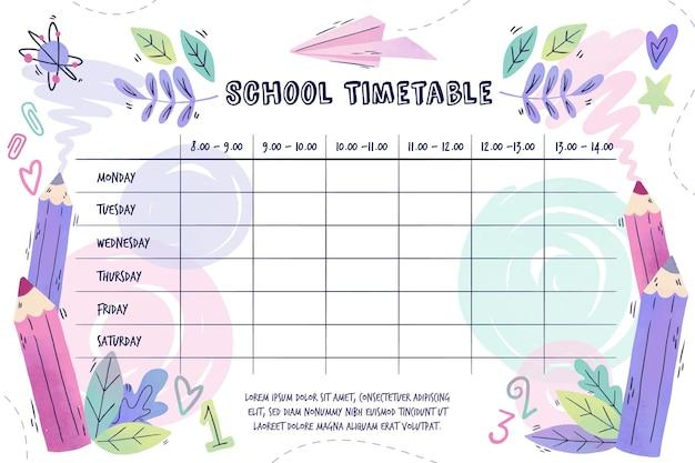 新学期の水彩タイムテーブル