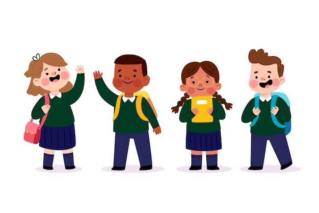 学校に戻って立っている幸せな子供