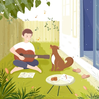 裏庭でギターを弾く若い男