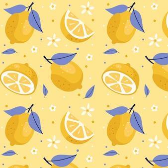 かわいいスライスレモンパターン