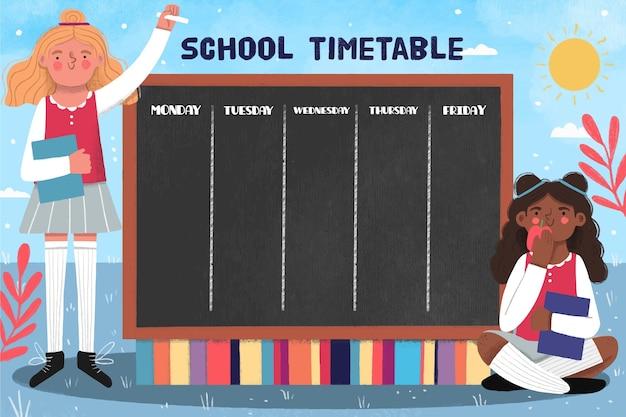 学校の時間割に描かれた手