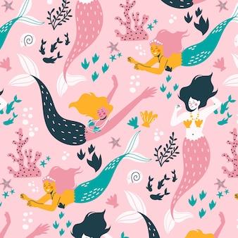 装飾的なかわいい人魚パターン