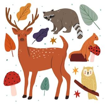 かわいい手描きの動物のコレクション