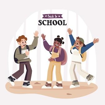 フラットなデザインの子供たちが学校で楽しんで