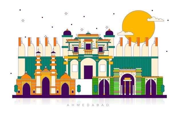 カラフルなアーメダバードのスカイラインのランドマーク