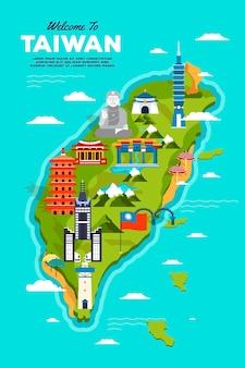 ランドマークとカラフルな台湾地図