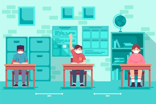 社会的距離のある学校での新しい通常教育