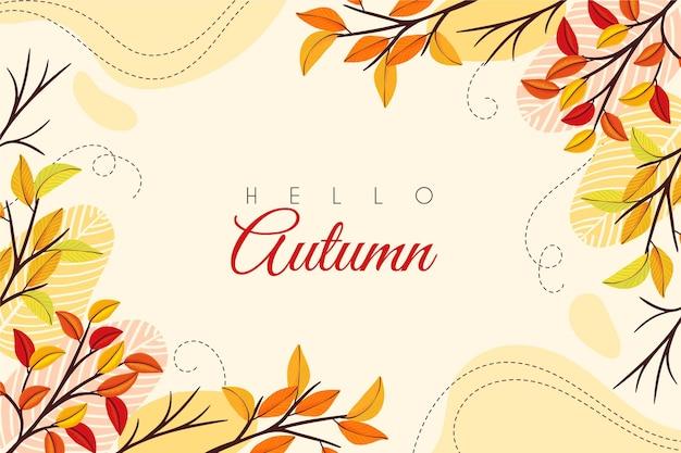 こんにちは秋の手描きの背景