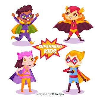 面白いスーパーヒーローの子供パック