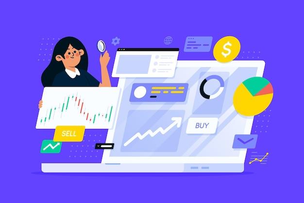 Иллюстрированная концепция анализа фондового рынка