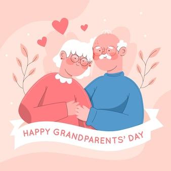 フラットなデザインの祖父母の日イベントイラスト