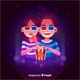 映画館でのカップル