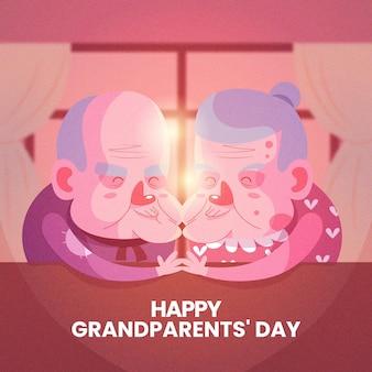 手を繋いでいるフラットなデザインの祖父母