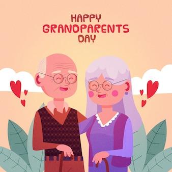 お互いを保持しているフラットなデザインの祖父母