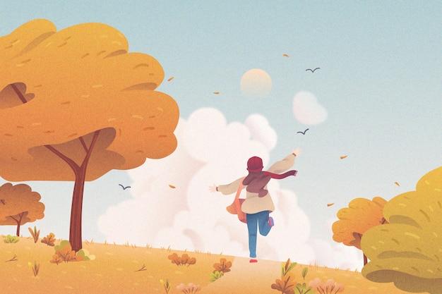 実行している子供とフラットなデザインの秋の背景