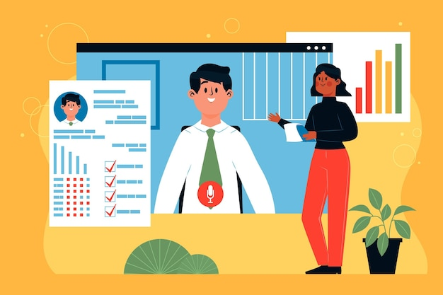 オンラインの就職の面接を図解