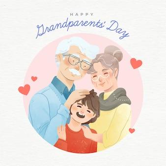 水彩アメリカ国民祖父母の日