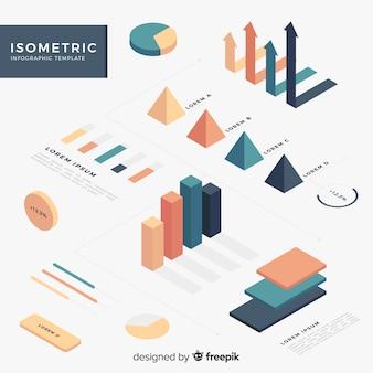 等尺性のインフォグラフィック要素のコレクション