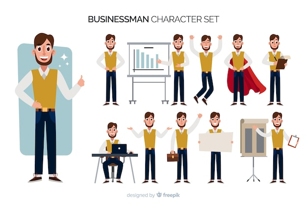 ニースのビジネスマンのキャラクターセット