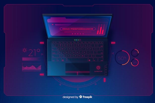 Градиент вид сверху ноутбук технологии фон