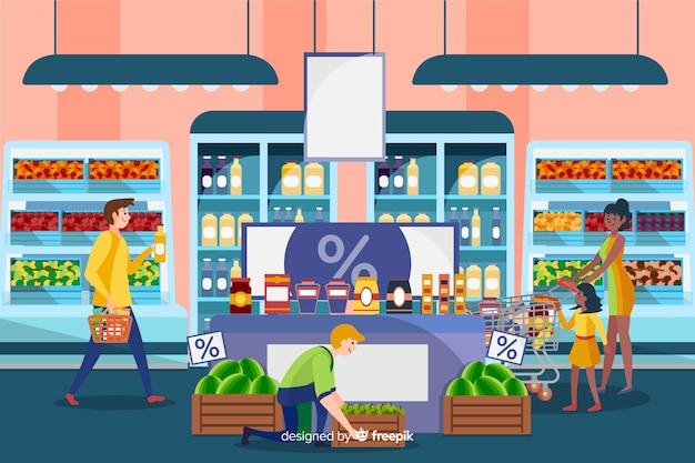 Рисованной люди в супермаркете