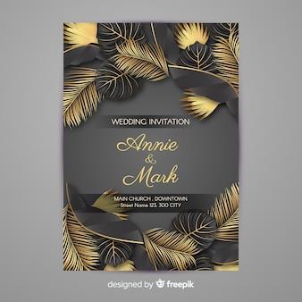 黄金のヤシの葉の結婚式の招待状