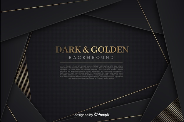暗いと金色の多角形の背景