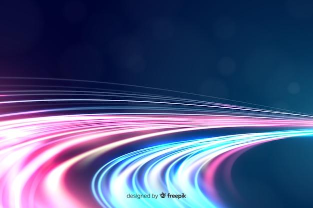 カラフルなネオン波状の光の道の背景