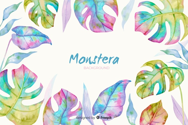 水彩のモンステラの葉