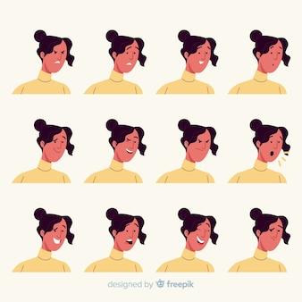 Персонаж показывает коллекцию эмоций