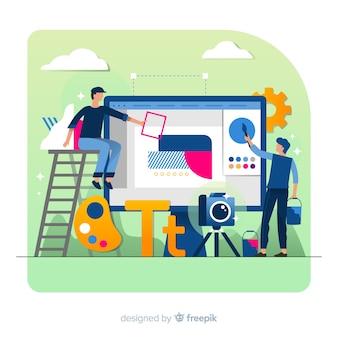 グラフィックデザインのクリエイティブプロセスのコンセプト