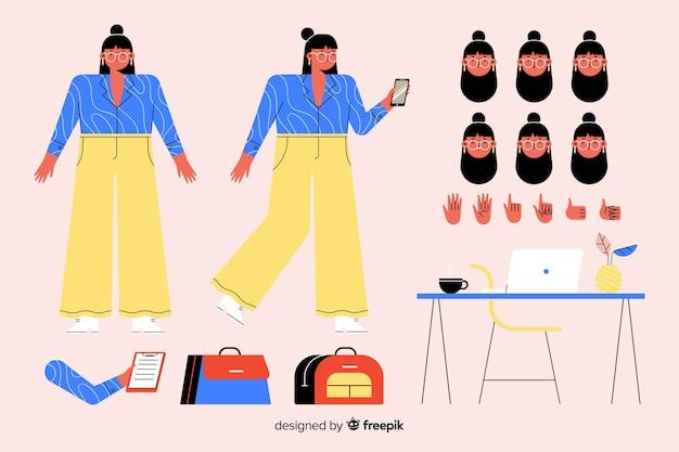モーションデザインのための漫画の女性キャラクター