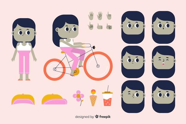 モーションデザインのための漫画の子供キャラクター