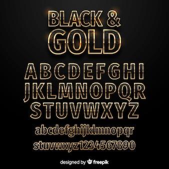 黄金のアルファベットのテンプレート