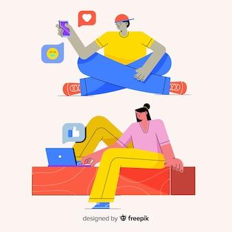 Люди, использующие технологические устройства