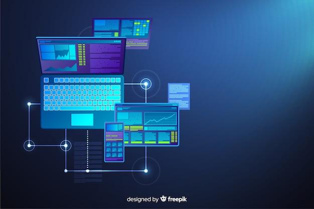 グラデーショントップビューノートパソコンの背景
