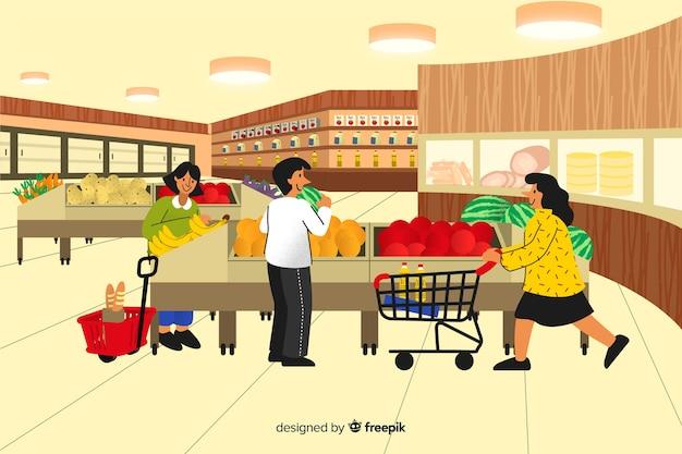 スーパーの人々