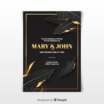 現実的な黄金のヤシの葉の結婚式の招待状のテンプレート
