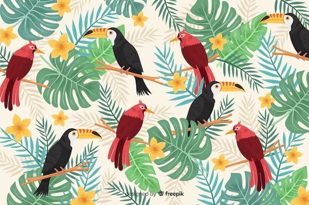 リアルな熱帯の葉と鳥の背景