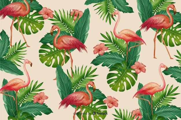 Реалистичные тропические листья и птицы фон