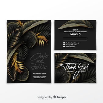 Реалистичные пальмовые листья свадебные приглашения шаблон
