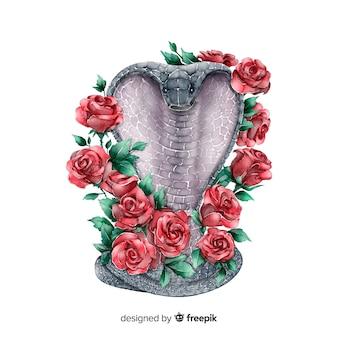 Змея с цветами фона