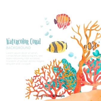 水彩サンゴ背景テンプレート